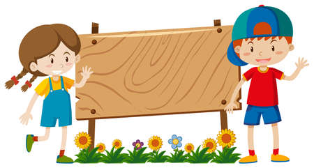 Banner template design with boy and girl in garden illustration