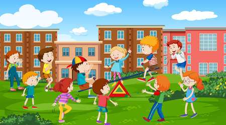 Active kids playing in outdoor scene illustration