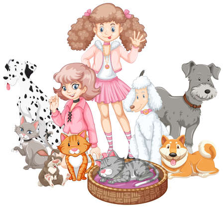 Children with animals on isolated background illustration