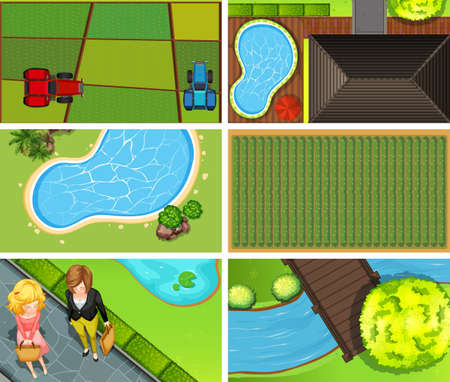 Set of top view aerial scenes in nature and outdoors illustration Illustration