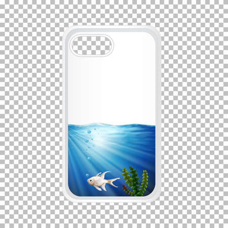 Telephone case design with fish under the ocean illustration