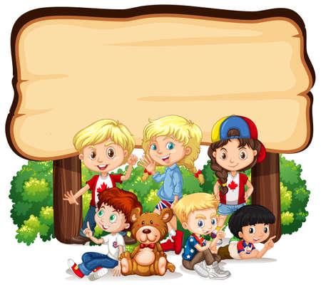 Banner template design with kids under wooden sign illustration