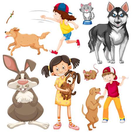 Niños con animales en la ilustración de fondo aislado