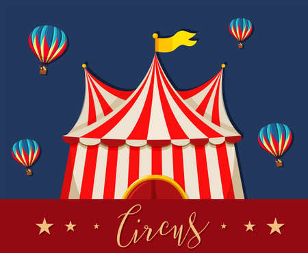 Circus, fun fair, amusement park theme template illustration