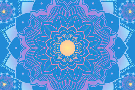 Background design with mandala in blue illustration Stock Illustratie