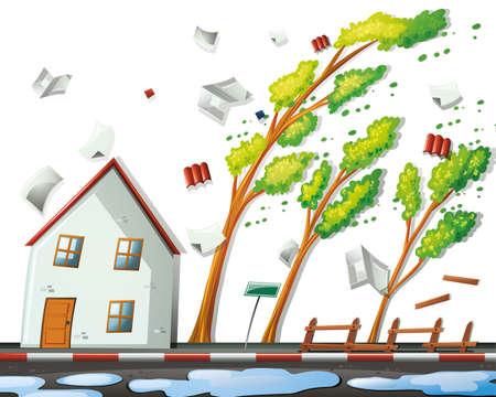 Tempesta di uragano con illustrazione di forte vento Vettoriali