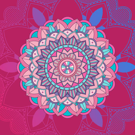 Mandala design in pink and blue color illustration