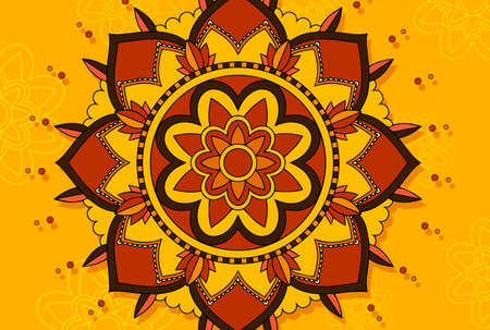 Mandala design on yellow background illustration