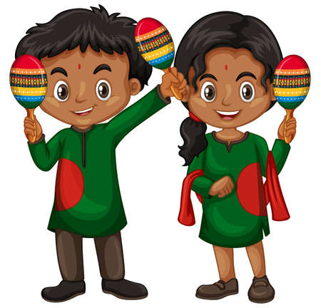 Boy and girl in indian costume holding shakers illustration