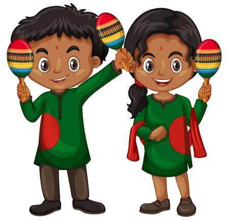 Niño y niña en traje indio con ilustración de agitadores