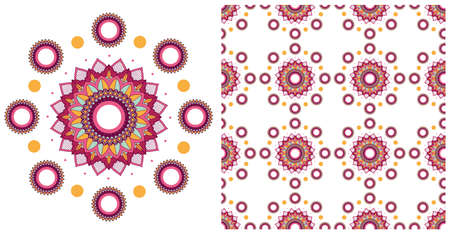 Seamless design with colorful mandalas pattern illustration Stock Illustratie