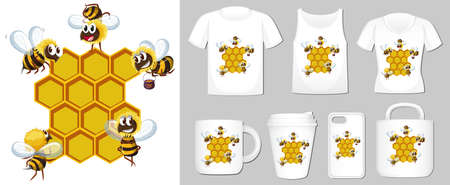 Graphic of bee and beehive on different product templates illustration