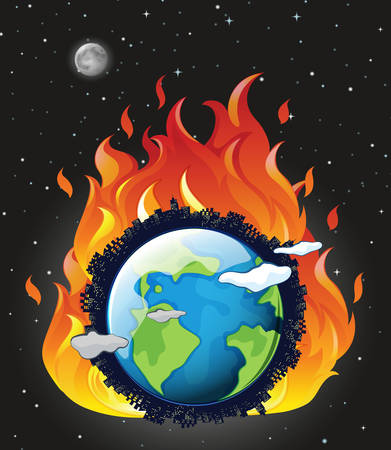 Global warming poster with earth on fire illustration Фото со стока - 129979766