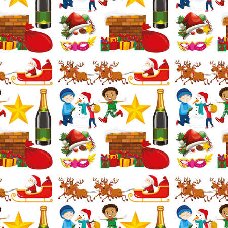 Seamless background design with christmas theme illustration Illustration