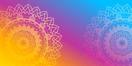 Background design with mandalas on rainbow  illustration
