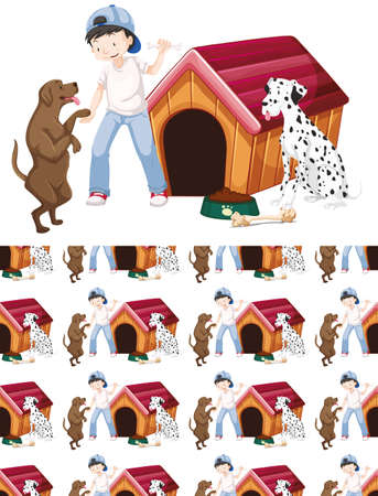 Seamless background design with boy and two dogs illustration