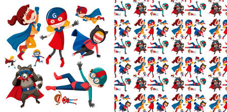 Seamless  design with many superheroes
