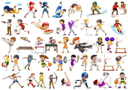 Attività sportive di ragazzi, ragazze, bambini, atleti isolati illustrazione