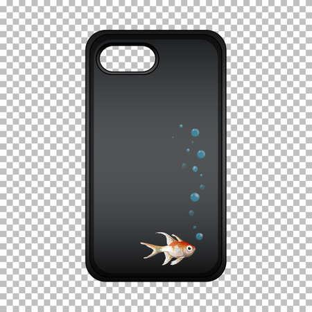 Conception graphique sur un étui pour téléphone portable avec un poisson mignon Vecteurs