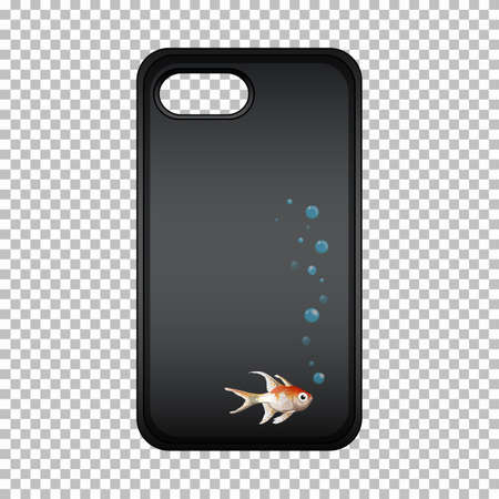 Graphic design on mobile phone case with cute fish Vecteurs