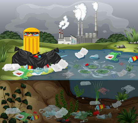 Water pollution with plastic bags in river illustration