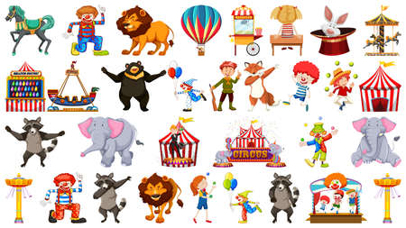 Collection of many different circus animals, rides and events illustration