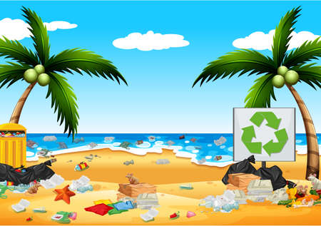 Pollution with plastic bags on the beach illustration Banco de Imagens - 131942021