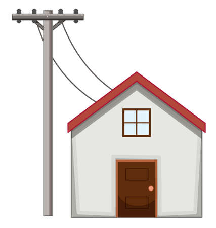 House with electric pole  illustration
