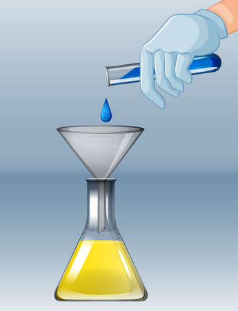 Chemistry experiment with different chemicals illustration Ilustracja
