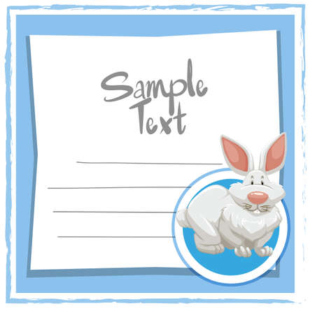Card template with white bunny illustration