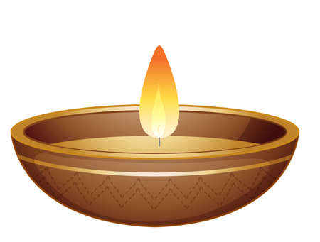 Candle light in brown bowl illustration