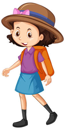 One happy girl with orange backpack illustration