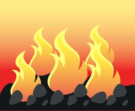 Burning fire on coal illustration Ilustração