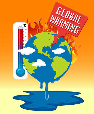 Global warming with earth on fire illustration Иллюстрация