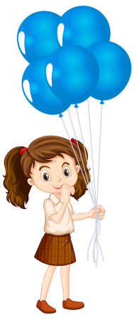 One happy girl with blue balloons illustration