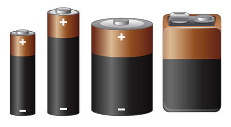 Different sizes of battery illustration