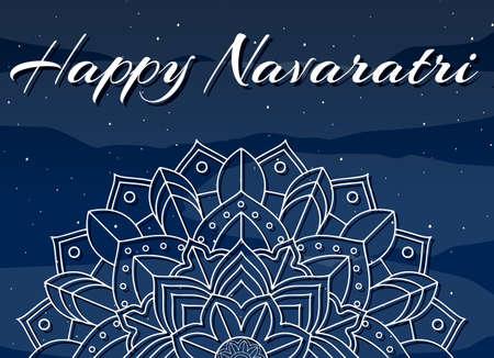 Navaratri poster design with mandala pattern illustration  イラスト・ベクター素材
