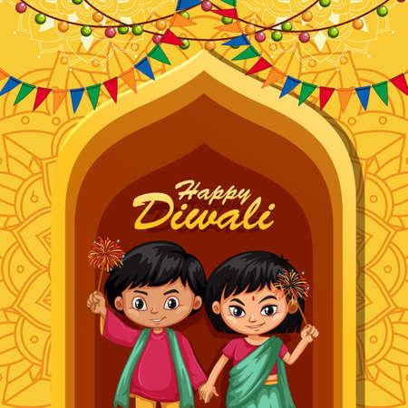 Design del poster per il Diwali felice