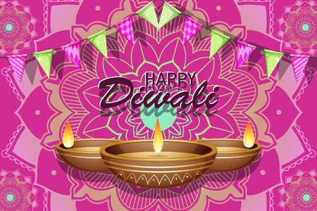 Poster design for happy Diwali illustration