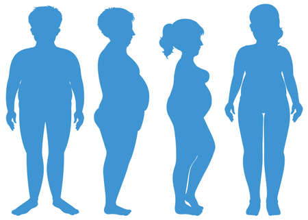 Blue silhouette of overweight human illustration