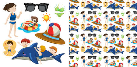 Seamless  design with isolated summer objects Иллюстрация