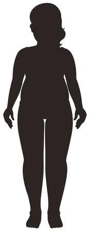 Silhouette human female on white background illustration