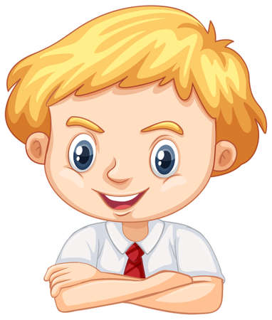 One happy boy on white background illustration