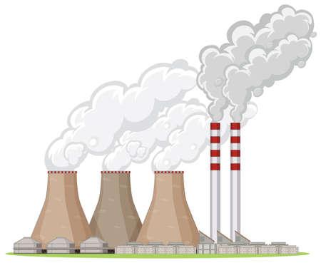 Factory building with smoke illustration Illusztráció