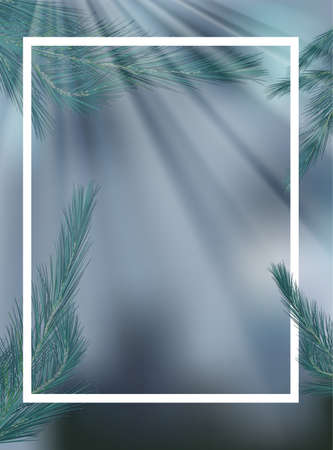 Border template with pine on gray background illustration  イラスト・ベクター素材
