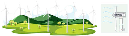 Scene with windmills in the field illustration