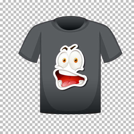 T-shirt template with happy face graphic in front illustration