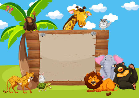 Wild animals and wooden sign illustration