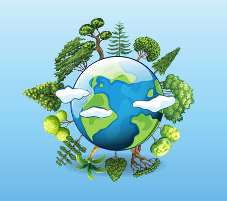 Global warming poster with tree on earth illustration