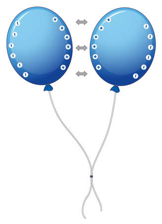 Diagram showing electrostatic with balloons illustration
